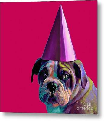 Pink Birthday Pup Metal Print by Jennifer Gibson