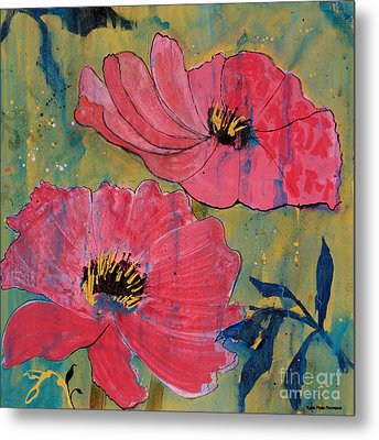 Metal Print featuring the painting Pink Blossoms by Robin Maria Pedrero
