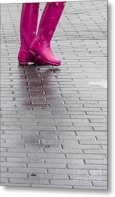 Pink Boots 1 Metal Print by Susan Cole Kelly Impressions