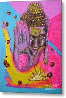 Pink Buddha Metal Print by Donna Chaasadah