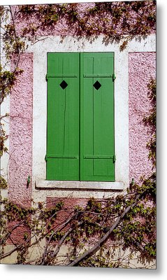 Metal Print featuring the photograph Pink Building With Green Shutters by Mary Bedy