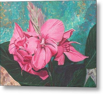 Pink Canna Metal Print by Hilda and Jose Garrancho