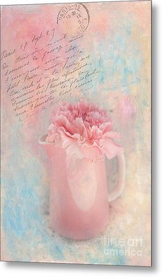 Pink Carnation In Pitcher Metal Print by Kay Pickens
