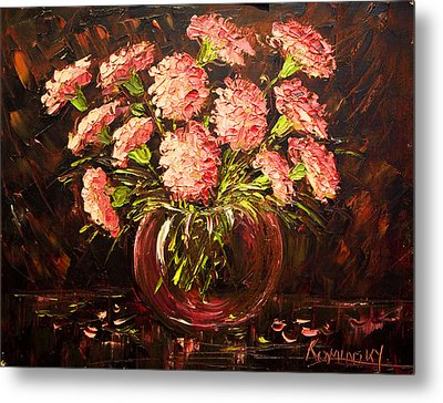 Pink Carnations Paint Along With Nancy Pbs Metal Print by    Michaelalonzo   Kominsky
