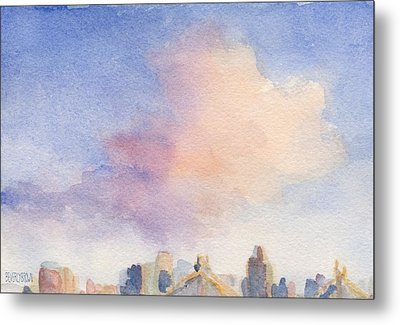 Pink Cloud And 59th St Bridge Watercolor Painting Of Nyc Metal Print