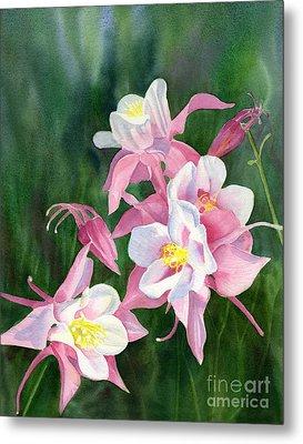 Pink Columbine Blossoms Metal Print by Sharon Freeman