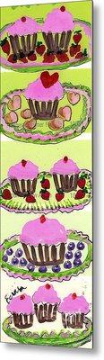 Metal Print featuring the painting Pink Cupcake Delights by Ecinja Art Works