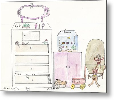 Metal Print featuring the painting Pink Dolly Bedroom by Helen Holden-Gladsky
