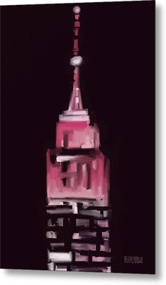 Pink Empire State Building New York At Night Metal Print