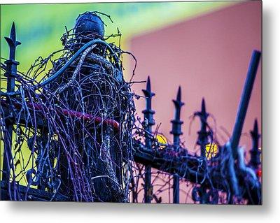 Pink Fence Metal Print by Raymond Kunst