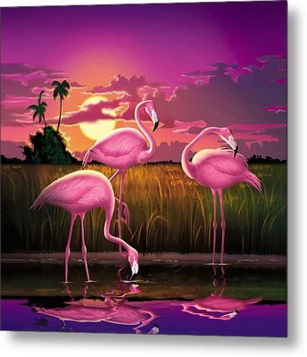 Pink Flamingos At Sunset Tropical Landscape - Square Format Metal Print by Walt Curlee