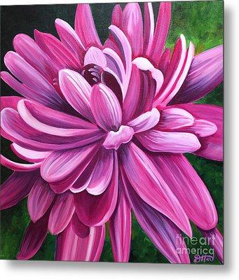Pink Flower Fluff Metal Print