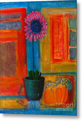 Metal Print featuring the painting Pink Flower by Patricia Januszkiewicz