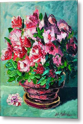 Metal Print featuring the painting Pink Flowers by Ana Maria Edulescu