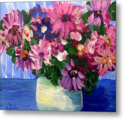 Pink Flowers In Pot Metal Print