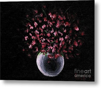 Metal Print featuring the painting Pink Flowers In Vase  by Becky Lupe