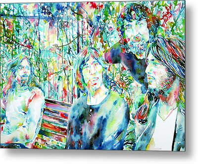 Pink Floyd At The Park Watercolor Portrait Metal Print by Fabrizio Cassetta