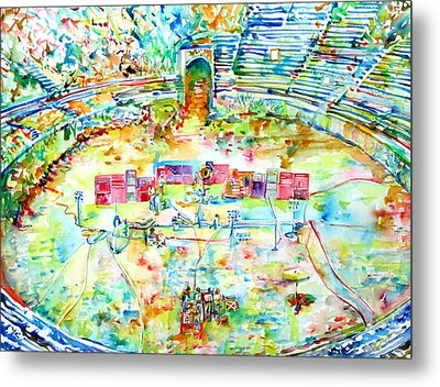 Pink Floyd Live At Pompeii Watercolor Painting Metal Print by Fabrizio Cassetta