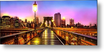 Pink Fog Of New York City Metal Print by Az Jackson
