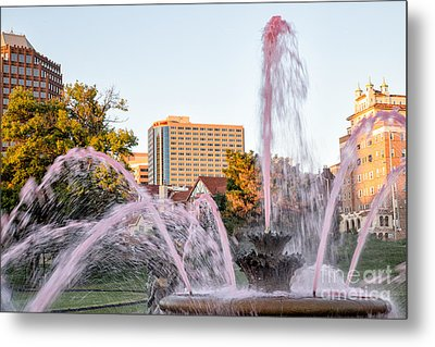 Pink Fountain For Breast Cancer Metal Print by Terri Morris
