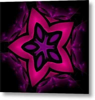 Pink Fractal Flower Metal Print by Steve K