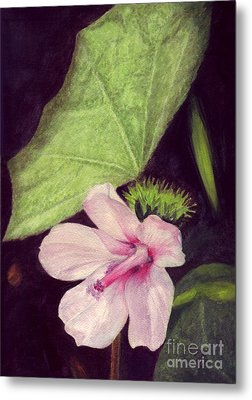 Metal Print featuring the painting Pink Hibiscus by Mukta Gupta
