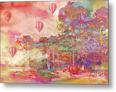 Pink Hot Air Balloons Abstract Nature Pastels - Dreamy Pastel Balloons Metal Print by Kathy Fornal