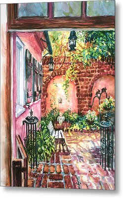 Pink House Courtyard Metal Print by Alice Grimsley