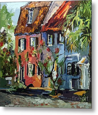 Pink House On Chalmers Street Charleston South Carolina Metal Print by Ginette Callaway