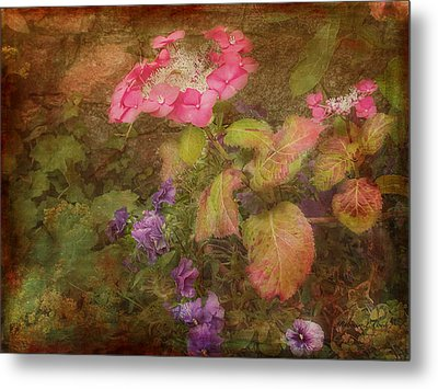 Pink Hydrangea And Purple Pansies Metal Print by Bellesouth Studio