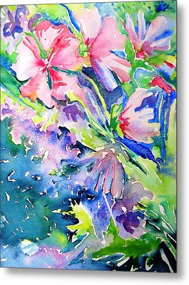Pink Lavatera Profusion Metal Print by Trudi Doyle