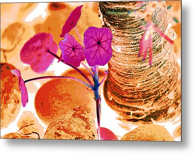 Pink Leaves In The Garden Metal Print by Lisa Holland-Gillem
