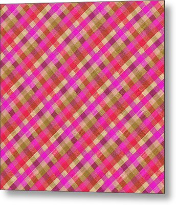 Pink Magenta And Green Plaid Textile Background Metal Print by Keith Webber Jr