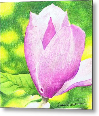 Metal Print featuring the painting Pink Magnolia by Susan Herbst