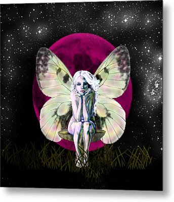 Pink Moon Fairy Metal Print by Diana Shively
