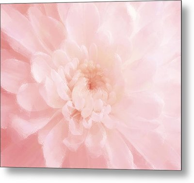 Pink Mum Luminous Painted Blossom Metal Print by Patricia E Sundik