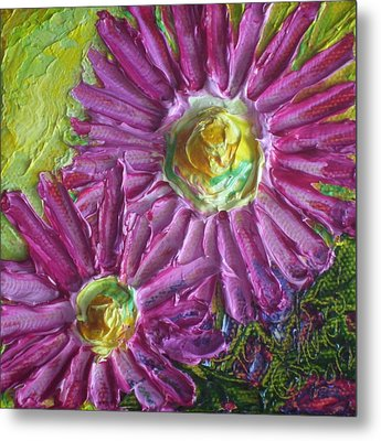 Pink Mums II Metal Print by Paris Wyatt Llanso