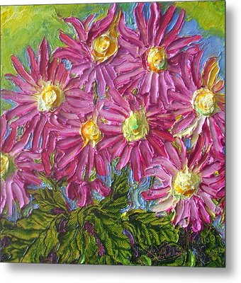 Pink Mums Metal Print by Paris Wyatt Llanso