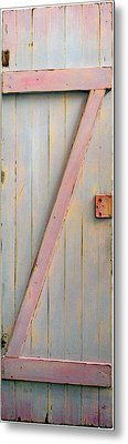 Pink Painted Z Door Metal Print by Asha Carolyn Young