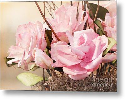 Pink Paper Roses Metal Print by Cindy Singleton