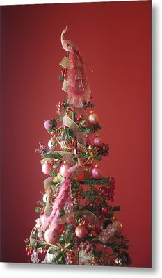 Metal Print featuring the photograph Pink Peacock Christmas Tree by Suzanne Powers
