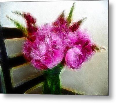 Pink Peonies And Snapdragons In Vase Metal Print by Cindy Wright