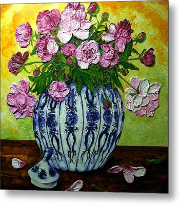 Pink Peonies In A Vase Metal Print by Paris Wyatt Llanso