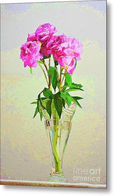 Pink Peony Flowers Metal Print by Linda Matlow