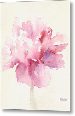 Pink Peony Watercolor Paintings Of Flowers Metal Print