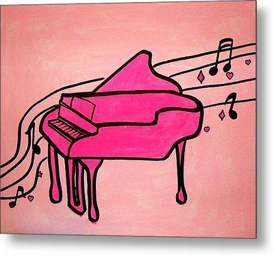 Pink Piano Metal Print by Marisela Mungia