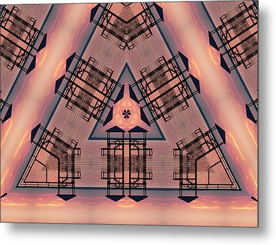 Pink Pier Kaleidoscope One Metal Print