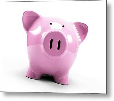 Pink Piggy Bank Metal Print