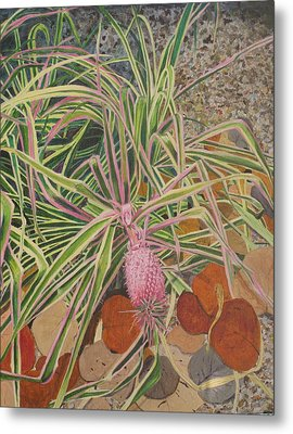 Metal Print featuring the painting Pink Pineapple by Hilda and Jose Garrancho