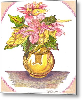 Pink Poinsettia Plant Metal Print